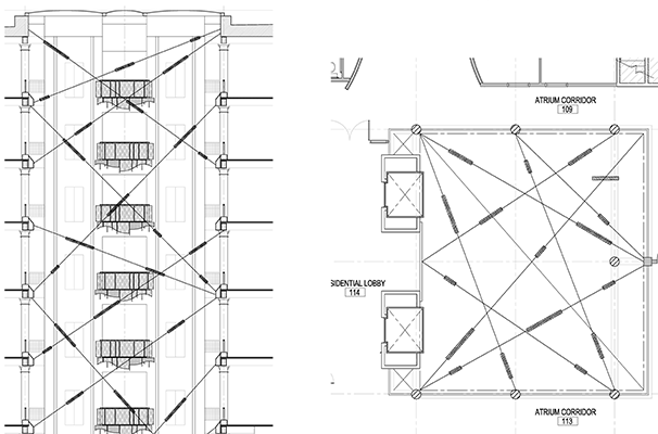 Floor plans for lighting design of a commercial building's atrium and lobby