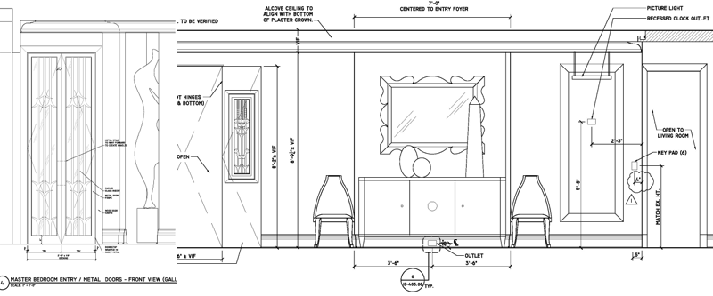 Floor plans for residential design of the master bedroom in NYC