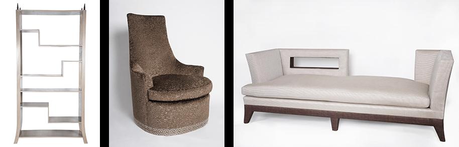 Custom furniture - bookshelf, chair, and sofa