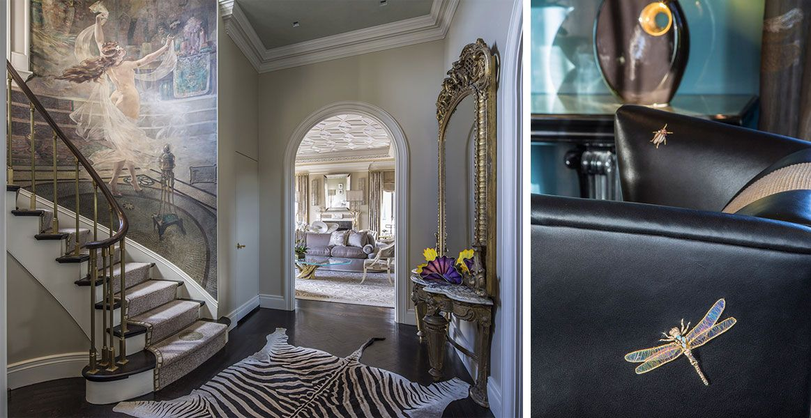 Interior Design of painted walls, lighted ceiling, animal rugged floor, and luxury furnishings