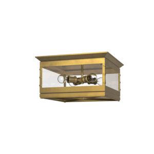 Douglas Flushmount Lantern in Vintage Brass