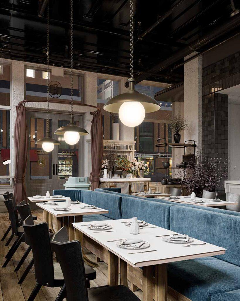 Oviatt Pendant in a restaurant