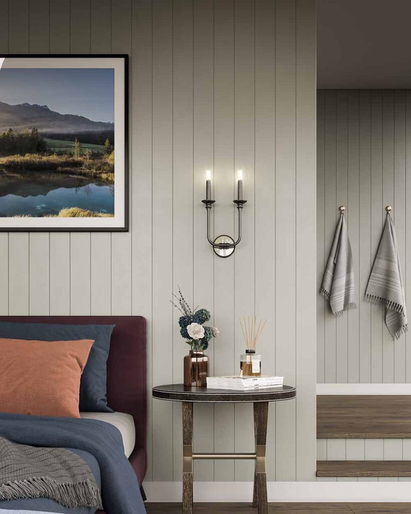 Peabody Sconce in a Bedroom